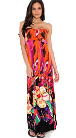 maxi dress with flowers pattern